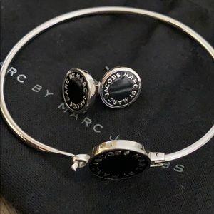 Marc Jacob logo earrings and matching bracelet.